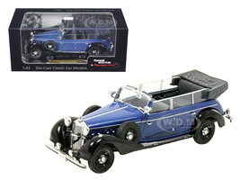 1938 Mercedes 770K Parade Car Blue 1/43 Diecast Car Model Signature Models 43700
