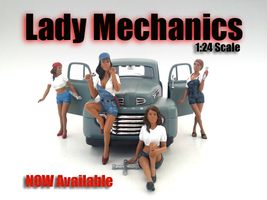 """Lady Mechanics"" 4 Piece Figure Set For 1:24 Scale Models American Diorama 23959-23960-23961-23962"
