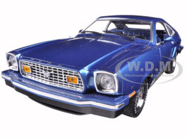 1976 Ford Mustang II Mach 1 Blue with Black 1/18 Diecast Model Car Greenlight 12868