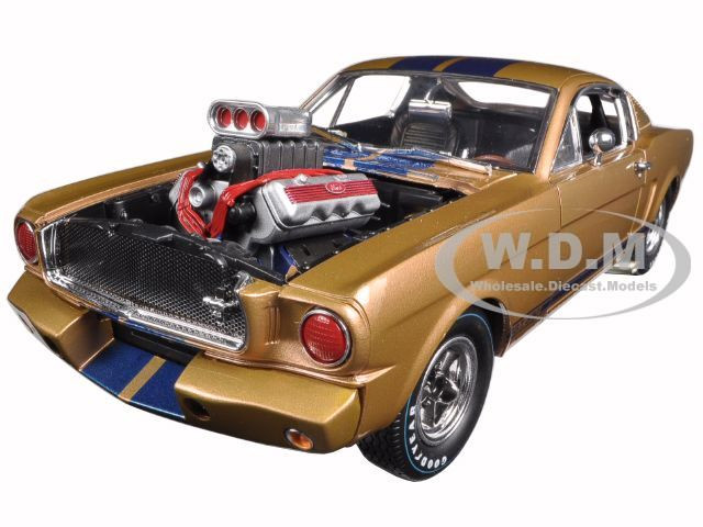 1965 Ford Shelby Mustang GT 350R Gold/Blue 1/18 Diecast Car Model Shelby Collectibles 179