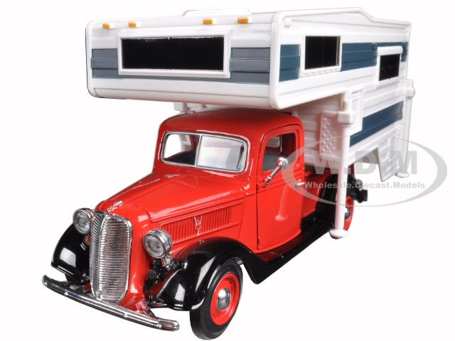 1937 Ford Pickup Truck Red With Camper 1/24 Diecast Model Motormax 75200