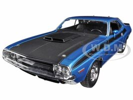 1970 Dodge Challenger T/A Blue Black Hood 1/24 1/27 Diecast Model Car Welly 24029