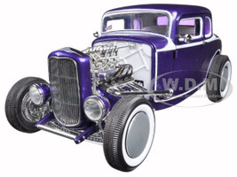 1932 Ford 5 Five Window Coupe Purple Release #4 Grand National Deuce Series Limited to 996pc. 1/18 Diecast Car Model Acme A1805009