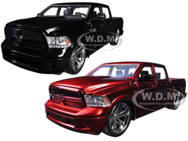 2014 RAM 1500 Pickup Truck Custom Edition Black & Red Set of 2 Cars Just Trucks Series 1/24 Diecast Model Cars Jada 54040