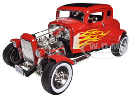 1932 Ford Hot Rod Red with Flames Limited Edition and Platinum Collection 1/18 Diecast Model Car Motormax 77172