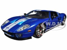 Ford GT Blue White Stripes Fast & Furious 7 2015 Movie 1/24 Diecast Model Car Jada 97177