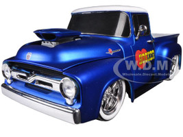 """1956 Ford F-100 Pickup Truck Satin Blue/Pearl White Ground Pounders """"I Love My Hooker Headers"""" 1/24 Diecast Model M2 Machines 40300-47B"""
