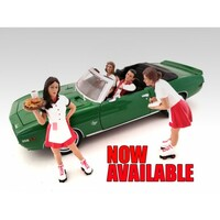 Carhop Waitress Brittany & Grace Set of 2 for 1:24 Models American Diorama 23963 23964