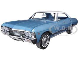 1967 Chevrolet Impala Sport Sedan 4 Doors Nantucket Blue with White Top 1/18 Diecast Model Car Greenlight 19008