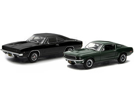1968 Ford Mustang GT Fastback Green 1968 Dodge Charger R/T Black Bullitt 1968 Movie Set 2 pieces 1/43 Diecast Model Cars Greenlight 86431 86432