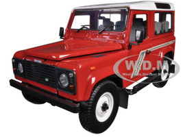 Land Rover Defender 90 Country Station Wagon Tdi Red 1/18 Diecast Model Car Universal Hobbies 3880
