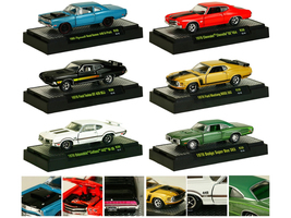 Detroit Muscle Set of 6 Cars Release 30 IN DISPLAY CASES 1/64 Diecast Model Cars M2 Machines 32600-30