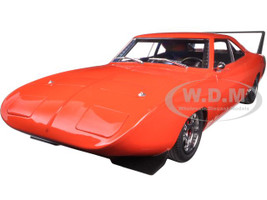 1969 Dodge Charger Daytona Custom Red/Orange with Black Rear Wing 1/18 Diecast Model Car Greenlight 19004