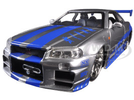 "Brian's Nissan GTR Skyline R34 Silver/Blue ""Fast & Furious"" Movie 1/24 Diecast Model Car Jada 97158"