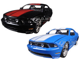 2010 Ford Mustang GT Black With Red Stripes & Blue With White Stripes 2 Cars Set 1/24 Diecast Model Car Jada 96868