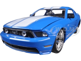 2010 Ford Mustang GT Blue With White Stripes 1/24 Diecast Model Car Jada 96868