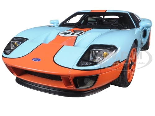 2004 Ford GT Gulf Livery #40 Blue with Orange 1/18 Diecast Model Car Autoart 80513