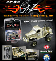 Stacey David's Sargeant Rock 1941 Military Dodge 1/2 Ton 4x4 Pick Up Truck 1/64 Diecast Model Acme/Greenlight 51013