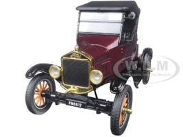 1925 Ford Model T Runabout Soft Top Burgundy 1/24 Diecast Model Car Motormax 79317