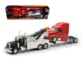 Peterbilt 379 Tow Truck Black Red Peterbilt Tractor 1/32 Diecast Model New Ray 12053