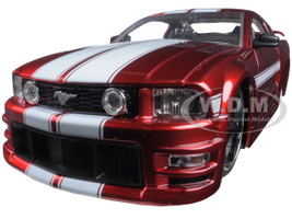 2006 Ford Mustang GT Red With White Stripes 1/24 Diecast Model Car Jada 90658 YV-r