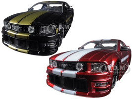 2006 Ford Mustang GT Black With Gold Stripes & Red With White Stripes 2 Cars Set 1/24 Diecast Model Car Jada 90658 YV-SET