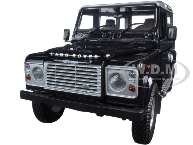Land Rover Defender 90 Station Wagon Blue with Silver 1/18 Diecast Model Car Universal Hobbies 3888