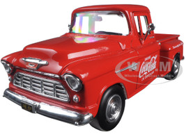 1955 Chevrolet Stepside Pickup Truck Coca Cola with Commercial Cooler 1/24 Diecast Model Motorcity Classics 435683