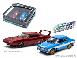 "1969 Dodge Charger Daytona and 1974 Ford Escort RS 2000 Mkl ""The Fast and The Furious"" Movie Diorama Set 1/43 Diecast Model Cars Greenlight 86251"