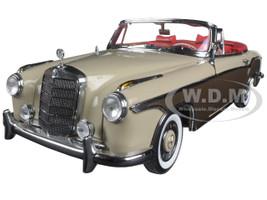 1958 Mercedes 220SE Open Convertible Light Beige/Mid-Brown 1/18 Diecast Model Car Sunstar 3574
