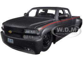 """1999 Chevrolet Silverado Dooley Pickup Truck Matt Grey """"Just Trucks"""" with Extra Wheels 1/24 Diecast Model Jada 97301"""