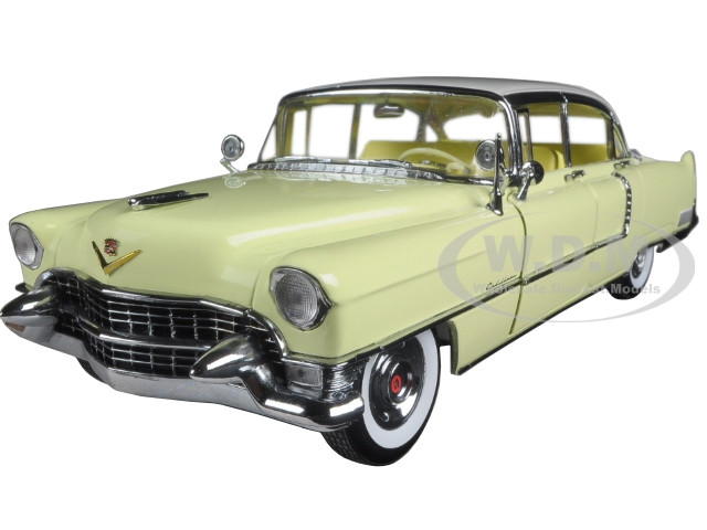1955 Cadillac Fleetwood Series 60 Yellow with White Roof 1/18 Diecast Model Car Greenlight 12937