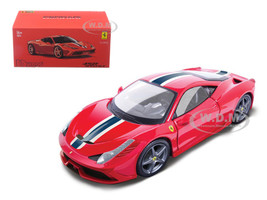 Ferrari 458 Speciale Red White Blue Stripes Signature Series 1/43 Diecast Model Car Bburago 36901