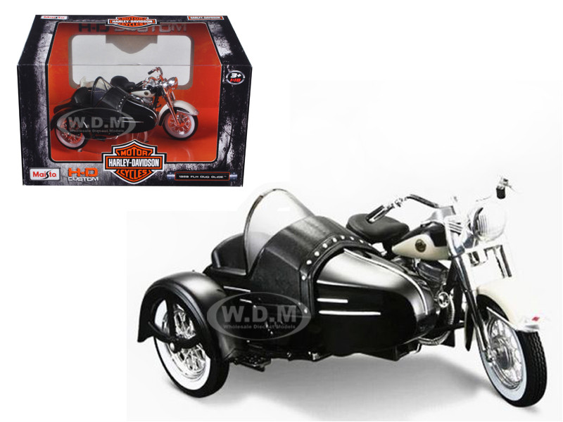 1958 Harley Davidson FLH DUO Glide Side Car Black White 1/18 Diecast Motorcycle Model Maisto 32420B 03176