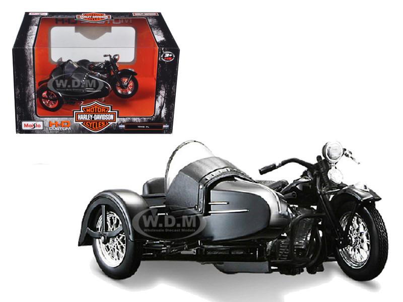 1948 Harley Davidson FL Side Car Black 1/18 Diecast Motorcycle Model Maisto 32420C 03174