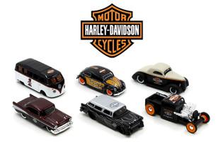 "Harley-Davidson Assortment Wave ""1"", 6 Cars Set 1/64 Diecast Model Cars Maisto 15380-W1"