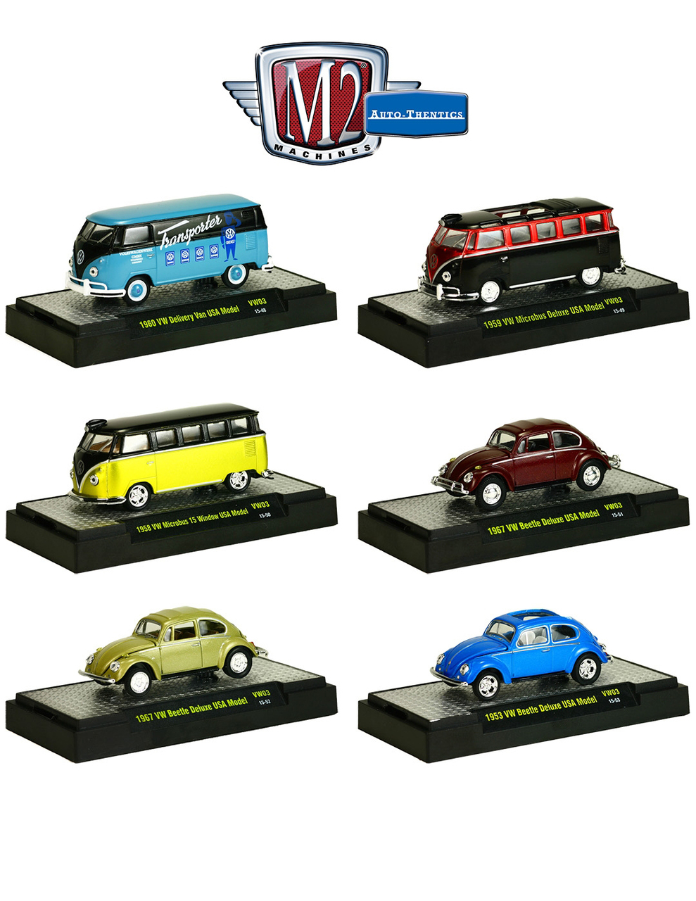 4b5940d095 Auto Thentics Volkswagen 6 Cars Set Release 3 IN DISPLAY CASES ...