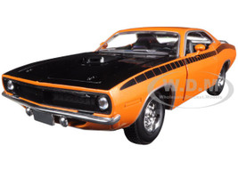 1970 Plymouth Cuda Orange with Black 1/24 Diecast Model Car New Ray 71873