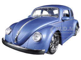 1959 Volkswagen Beetle Satin Metallic Blue with 5 Spoke Wheels 1/24 Diecast Model Car Jada 97489