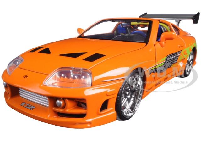 "Brian's Toyota Supra Orange ""Fast & Furious"" Movie 1/24 Diecast Model Car Jada 97168"
