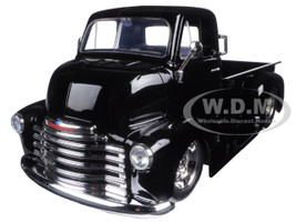 1952 Chevrolet COE Pickup Truck Black with Chrome Wheels 1/24 Diecast Model Jada 97462