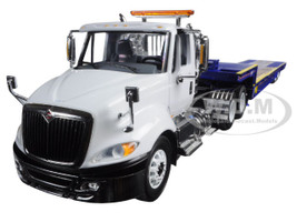 International ProStar with Ledwell Hydratail Trailer White and Blue 1/34 Diecast Model First Gear 10-4043