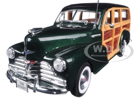 1948 Chevrolet Woody Wagon Fleetmaster Green 1/24 Diecast Model Car Welly 22083