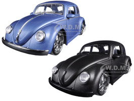 1959 Volkswagen Beetle Matt Blue & Matt Gray 2 Cars Set 1/24 Diecast Model Cars Jada 97489 97490