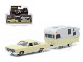 1967 Ford Custom Yellow and Shasta 15ft Airflyte 1/64 Diecast Model Car Greenlight 32050 C