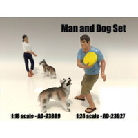 Man and Dog 2 Piece Figure Set For 1:24 Scale Models American Diorama 23927