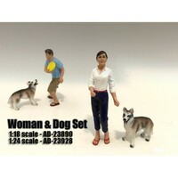 Woman and Dog 2 Piece Figure Set For 1:18 Scale Models American Diorama 23890
