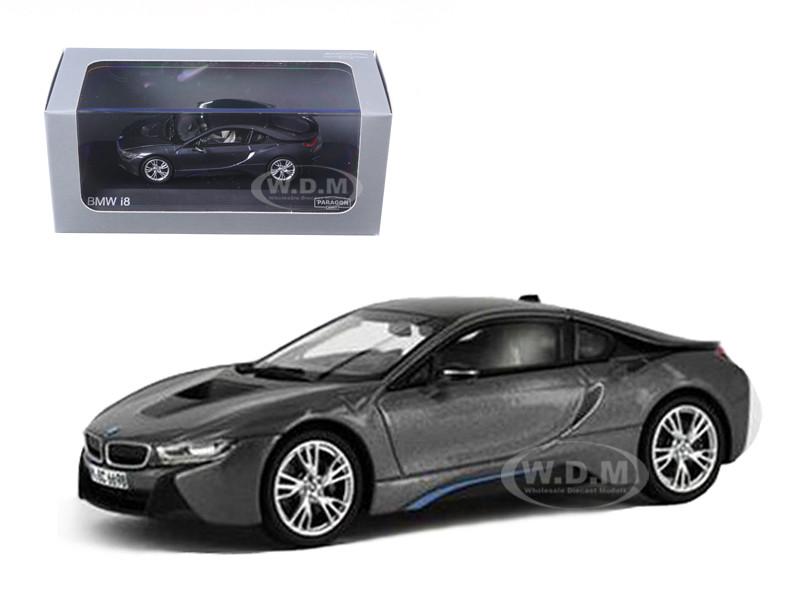 BMW i8 Grey with Blue 1/43 Diecast Model Car Paragon 91051
