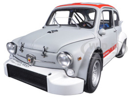 Fiat Abarth 1000 TCR Matt Grey with Red Stripes 1/18 Diecast Model Car AutoArt 72641