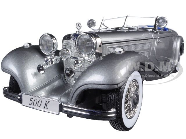 1936 Mercedes 500K Special Roadster Grey 1/18 Diecast Model Car Maisto 36862